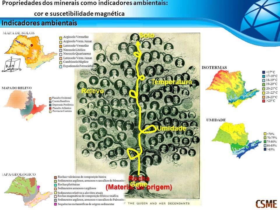 Importância agrícola Propriedades dos minerais como indicadores ambientais: cor e suscetibilidade magnética SIQUEIRA, D.S; MARQUES, JR.