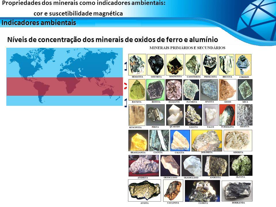 1 – 10 % > 40 % Níveis de concentração dos minerais de oxidos de ferro e alumínio Propriedades dos minerais como indicadores ambientais: cor e susceti