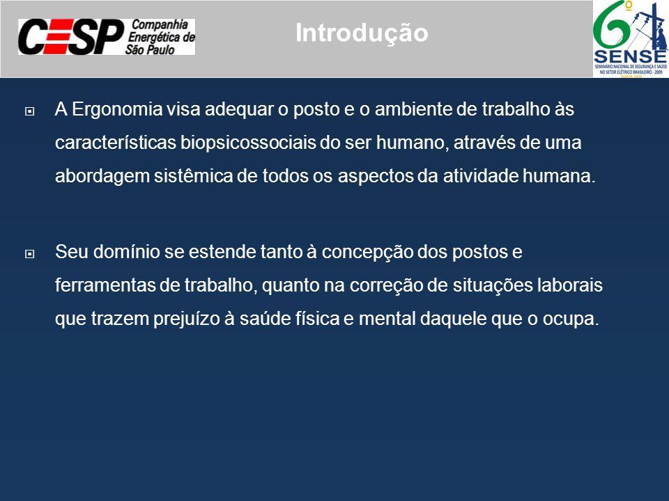 Introdução A Ergonomia visa adequar o posto e o ambiente de trabalho às características biopsicossociais do ser humano, através de uma abordagem sistê