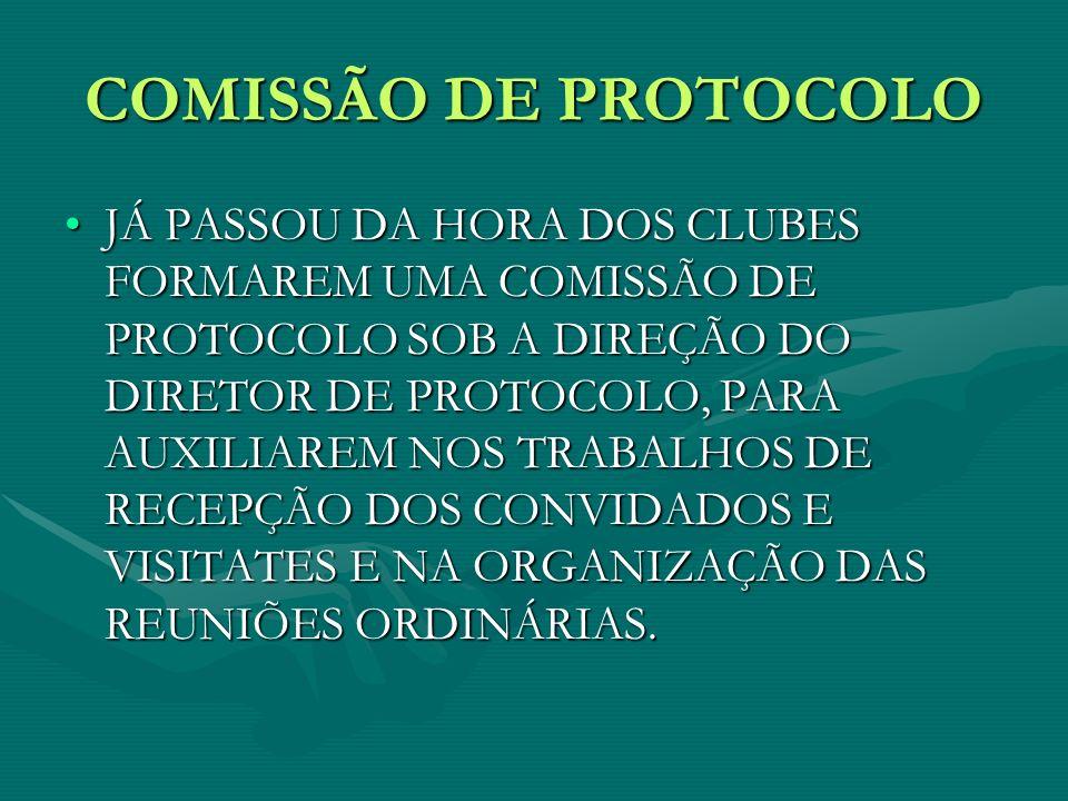 COMISSÃO DE PROTOCOLO JÁ PASSOU DA HORA DOS CLUBES FORMAREM UMA COMISSÃO DE PROTOCOLO SOB A DIREÇÃO DO DIRETOR DE PROTOCOLO, PARA AUXILIAREM NOS TRABA
