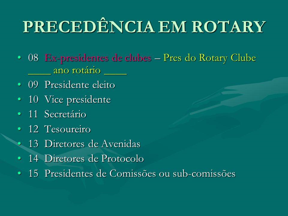 PRECEDÊNCIA EM ROTARY 08  Ex-presidentes de clubes – Pres do Rotary Clube ____ ano rotário ____08  Ex-presidentes de clubes – Pres do Rotary Clube _