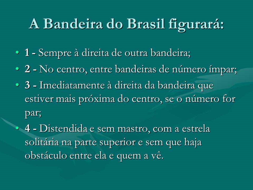 A Bandeira do Brasil figurará: 1 - Sempre à direita de outra bandeira;1 - Sempre à direita de outra bandeira; 2 - No centro, entre bandeiras de número