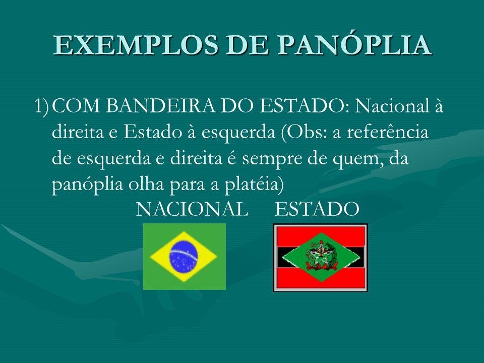 EXEMPLOS DE PANÓPLIA 1)COM BANDEIRA DO ESTADO: Nacional à direita e Estado à esquerda (Obs: a referência de esquerda e direita é sempre de quem, da pa
