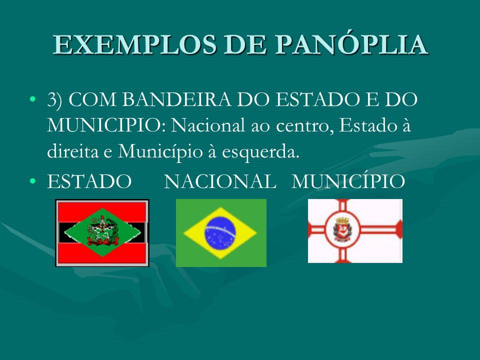 EXEMPLOS DE PANÓPLIA 3) COM BANDEIRA DO ESTADO E DO MUNICIPIO: Nacional ao centro, Estado à direita e Município à esquerda. ESTADO NACIONAL MUNICÍPIO