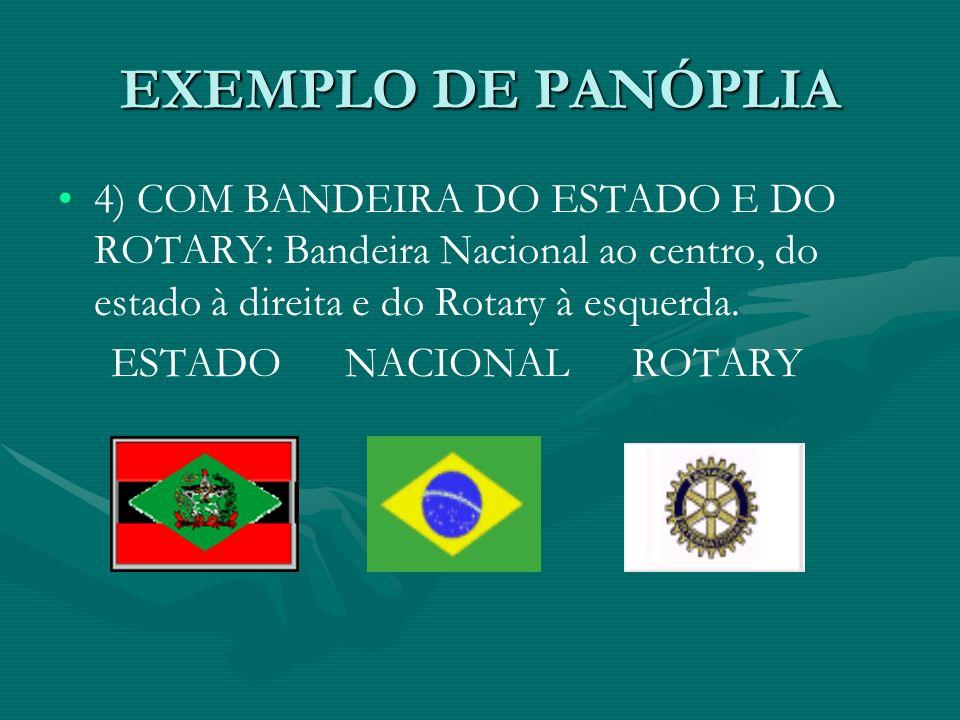 EXEMPLO DE PANÓPLIA 4) COM BANDEIRA DO ESTADO E DO ROTARY: Bandeira Nacional ao centro, do estado à direita e do Rotary à esquerda. ESTADO NACIONAL RO