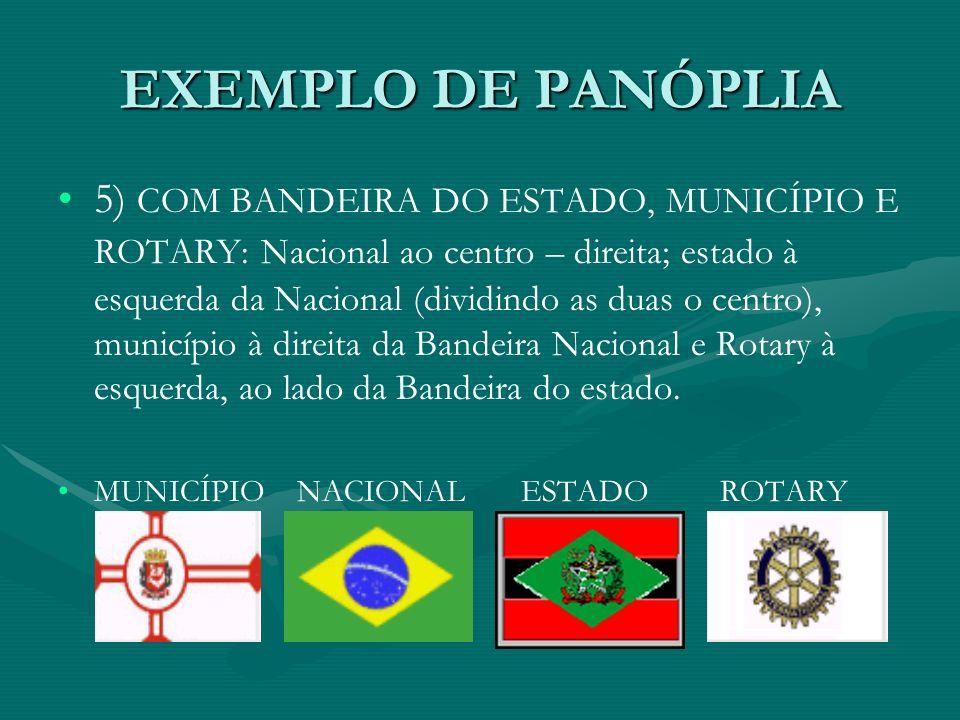 EXEMPLO DE PANÓPLIA 5) COM BANDEIRA DO ESTADO, MUNICÍPIO E ROTARY: Nacional ao centro – direita; estado à esquerda da Nacional (dividindo as duas o ce
