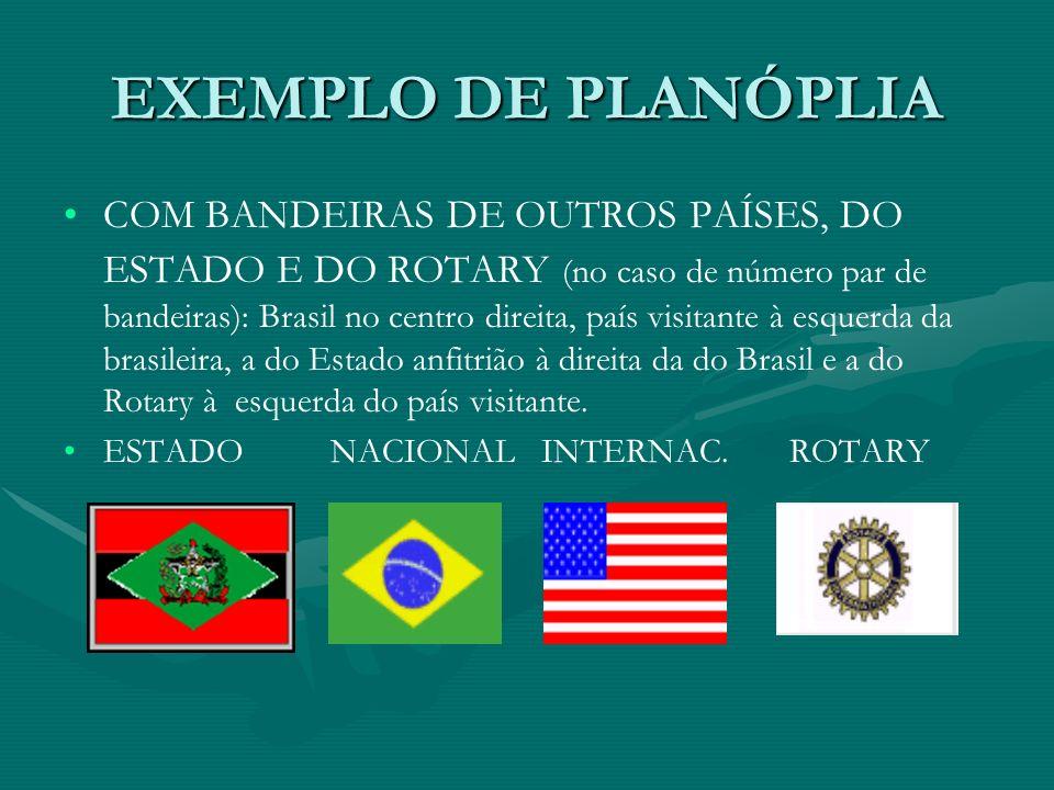 EXEMPLO DE PLANÓPLIA COM BANDEIRAS DE OUTROS PAÍSES, DO ESTADO E DO ROTARY (no caso de número par de bandeiras): Brasil no centro direita, país visita