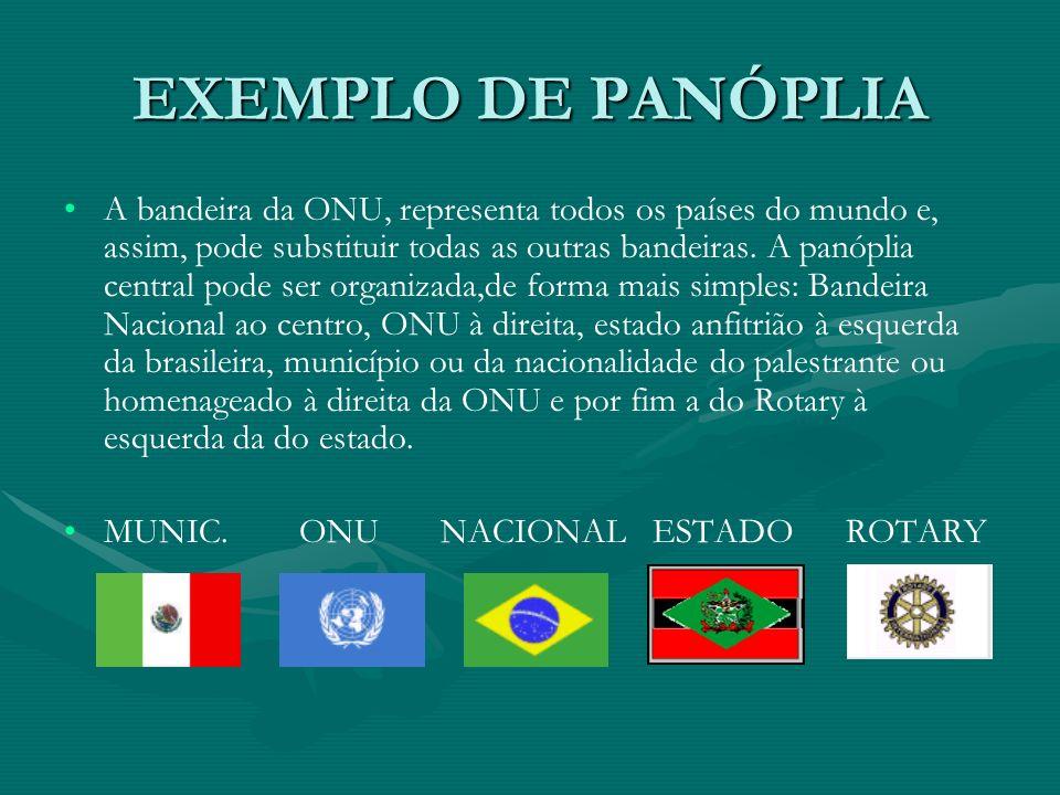 EXEMPLO DE PANÓPLIA A bandeira da ONU, representa todos os países do mundo e, assim, pode substituir todas as outras bandeiras. A panóplia central pod