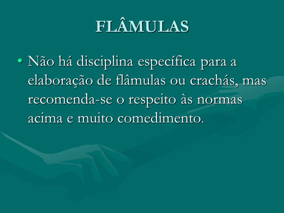 FLÂMULAS Não há disciplina específica para a elaboração de flâmulas ou crachás, mas recomenda-se o respeito às normas acima e muito comedimento.Não há