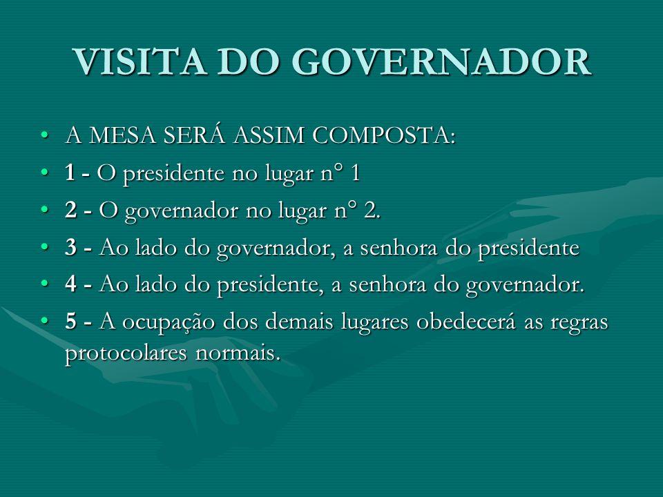 VISITA DO GOVERNADOR A MESA SERÁ ASSIM COMPOSTA:A MESA SERÁ ASSIM COMPOSTA: 1 - O presidente no lugar n° 11 - O presidente no lugar n° 1 2 - O governa