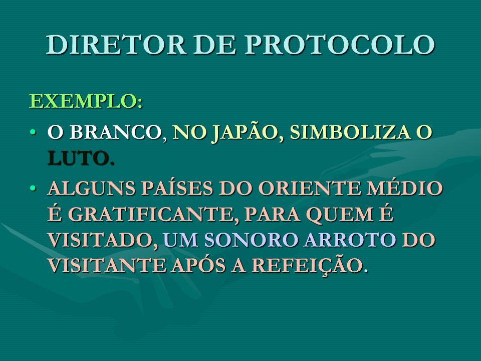 DIRETOR DE PROTOCOLO EXEMPLO: O BRANCO, NO JAPÃO, SIMBOLIZA O LUTO.O BRANCO, NO JAPÃO, SIMBOLIZA O LUTO. ALGUNS PAÍSES DO ORIENTE MÉDIO É GRATIFICANTE