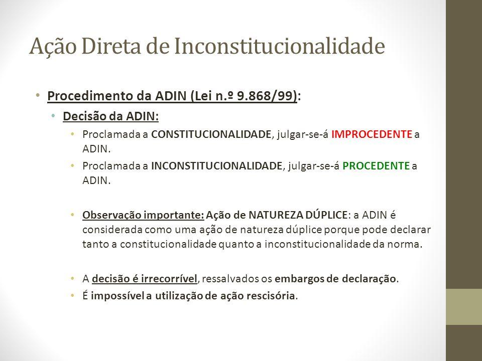 Ação Direta de Inconstitucionalidade Procedimento da ADIN (Lei n.º 9.868/99): Decisão da ADIN: Proclamada a CONSTITUCIONALIDADE, julgar-se-á IMPROCEDE