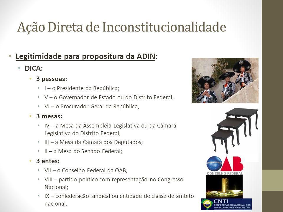 Ação Direta de Inconstitucionalidade Legitimidade para propositura da ADIN: DICA: 3 pessoas: I – o Presidente da República; V – o Governador de Estado