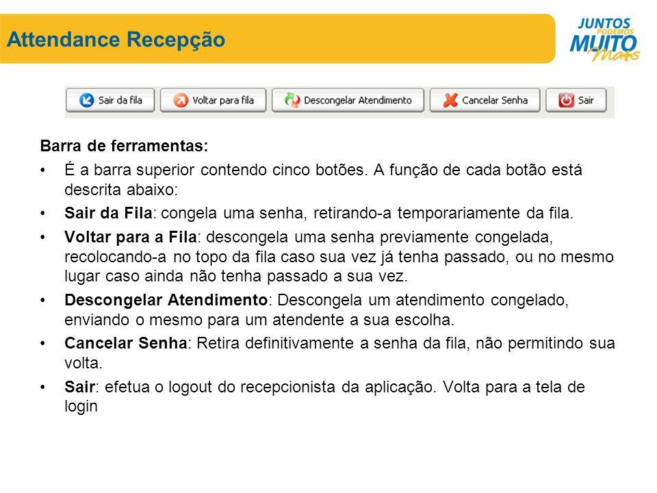 Attendance Recepção Barra de ferramentas: É a barra superior contendo cinco botões.