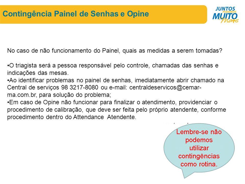 Contingência Painel de Senhas e Opine No caso de não funcionamento do Painel, quais as medidas a serem tomadas.