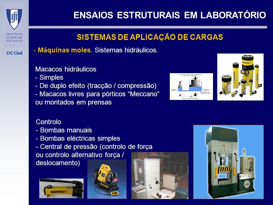 DECivil ENSAIOS ESTRUTURAIS EM LABORATÓRIO Comportamento de materiais (ensaios normalizados) Tracção / fadiga aços Tracção laminados de carbono Compre