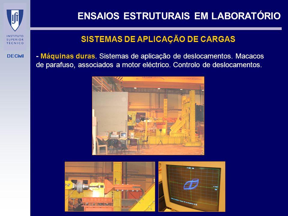 DECivil ENSAIOS ESTRUTURAIS EM LABORATÓRIO SISTEMAS DE APLICAÇÃO DE CARGAS - Máquinas moles. Sistemas hidráulicos. Macacos hidráulicos - Simples - De
