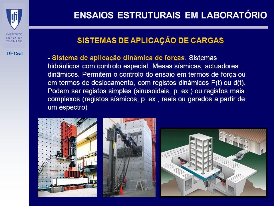DECivil ENSAIOS ESTRUTURAIS EM LABORATÓRIO SISTEMAS DE APLICAÇÃO DE CARGAS - Máquinas duras. Sistemas de aplicação de deslocamentos. Macacos de parafu