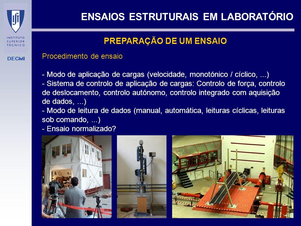DECivil ENSAIOS ESTRUTURAIS EM LABORATÓRIO PREPARAÇÃO DE UM ENSAIO Esquema de ensaio - Sistema de aplicação de cargas (macacos hidráulicos, macacos de