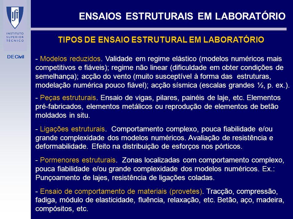 DECivil TIPOS DE ENSAIO ESTRUTURAL EM LABORATÓRIO ENSAIOS ESTRUTURAIS EM LABORATÓRIO - Modelos reduzidos.