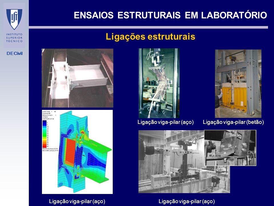 DECivil ENSAIOS ESTRUTURAIS EM LABORATÓRIO PREPARAÇÃO DE UM ENSAIO Esquema de ensaio - Sistema de aplicação de cargas (macacos hidráulicos, macacos de parafuso, cargas gravíticas, capacidades,...) - Sistema de controlo de aplicação de cargas (Sistemas hidráulicos: bomba manual, bomba de controlo de força / deslocamento, etc.; macaco de parafuso eléctrico: controlo autónomo, controlo integrado com aquisição de dados) - Sistema de fixação do elemento a ensaiar e dos equipamentos de aplicação de força (capacidade dos pórticos para as cargas previstas) - Transdutores a utilizar (células de carga, deflectómetros, acelerómetros, extensómetros) - Unidade de aquisição de dados (electrónica, com visor, papel,...) Estudo de um sistema de isolamento de base (Luís Guerreiro)