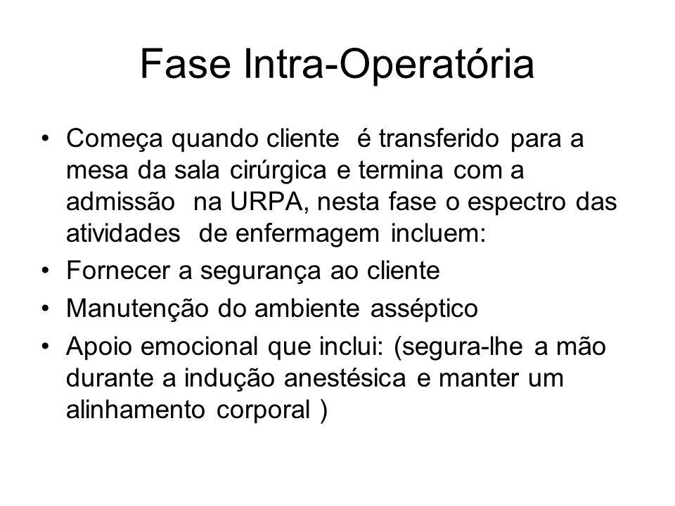 Fase Intra-Operatória Começa quando cliente é transferido para a mesa da sala cirúrgica e termina com a admissão na URPA, nesta fase o espectro das at