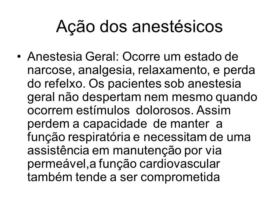 Ação dos anestésicos Anestesia Geral: Ocorre um estado de narcose, analgesia, relaxamento, e perda do refelxo. Os pacientes sob anestesia geral não de