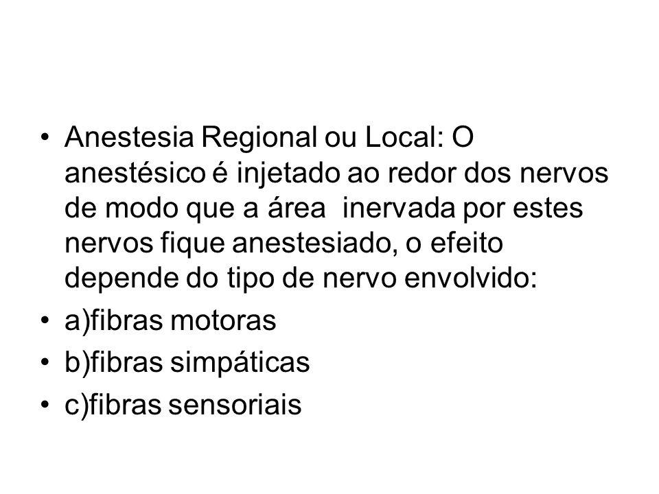 Anestesia Regional ou Local: O anestésico é injetado ao redor dos nervos de modo que a área inervada por estes nervos fique anestesiado, o efeito depe