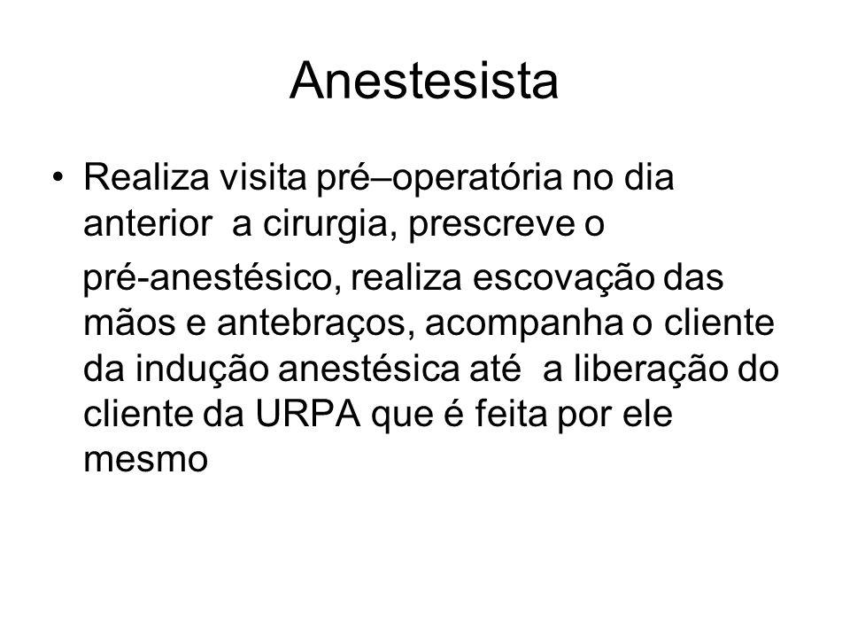 Anestesista Realiza visita pré–operatória no dia anterior a cirurgia, prescreve o pré-anestésico, realiza escovação das mãos e antebraços, acompanha o cliente da indução anestésica até a liberação do cliente da URPA que é feita por ele mesmo