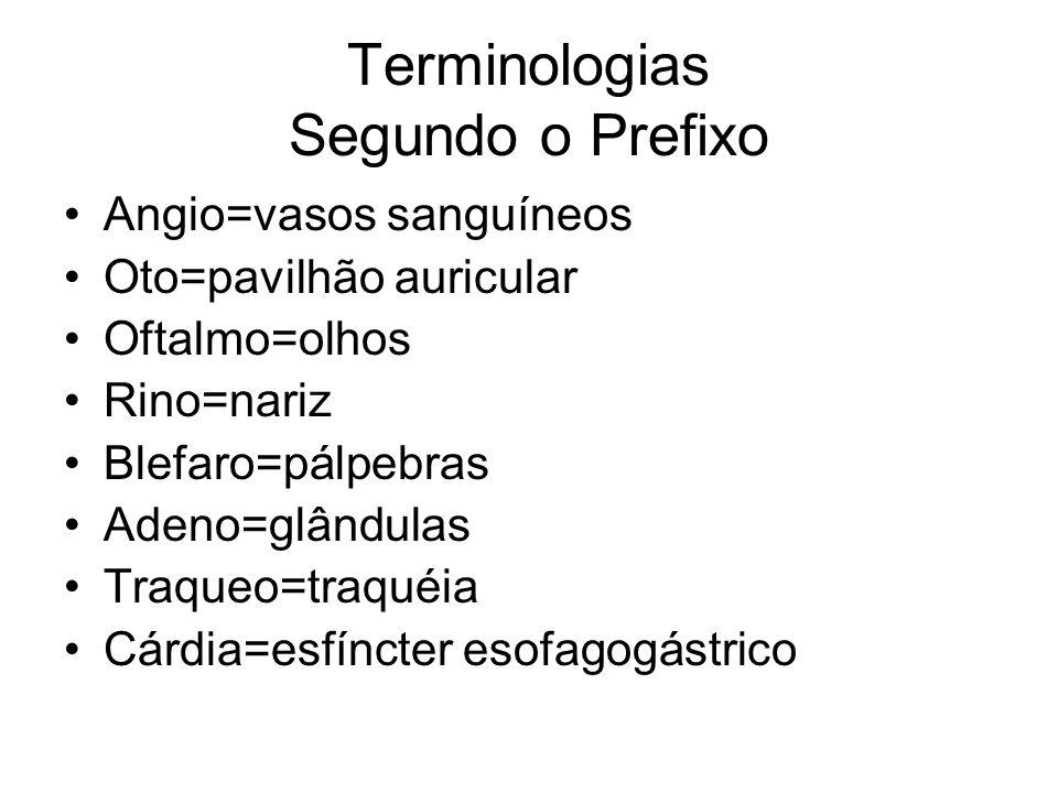 Terminologias Segundo o Prefixo Angio=vasos sanguíneos Oto=pavilhão auricular Oftalmo=olhos Rino=nariz Blefaro=pálpebras Adeno=glândulas Traqueo=traquéia Cárdia=esfíncter esofagogástrico