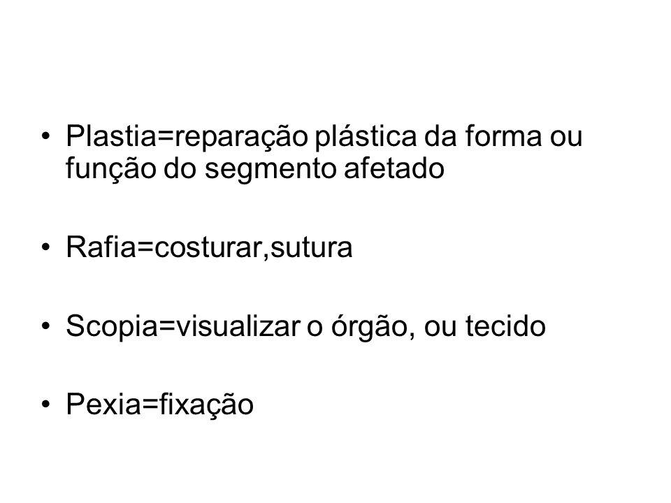 Plastia=reparação plástica da forma ou função do segmento afetado Rafia=costurar,sutura Scopia=visualizar o órgão, ou tecido Pexia=fixação