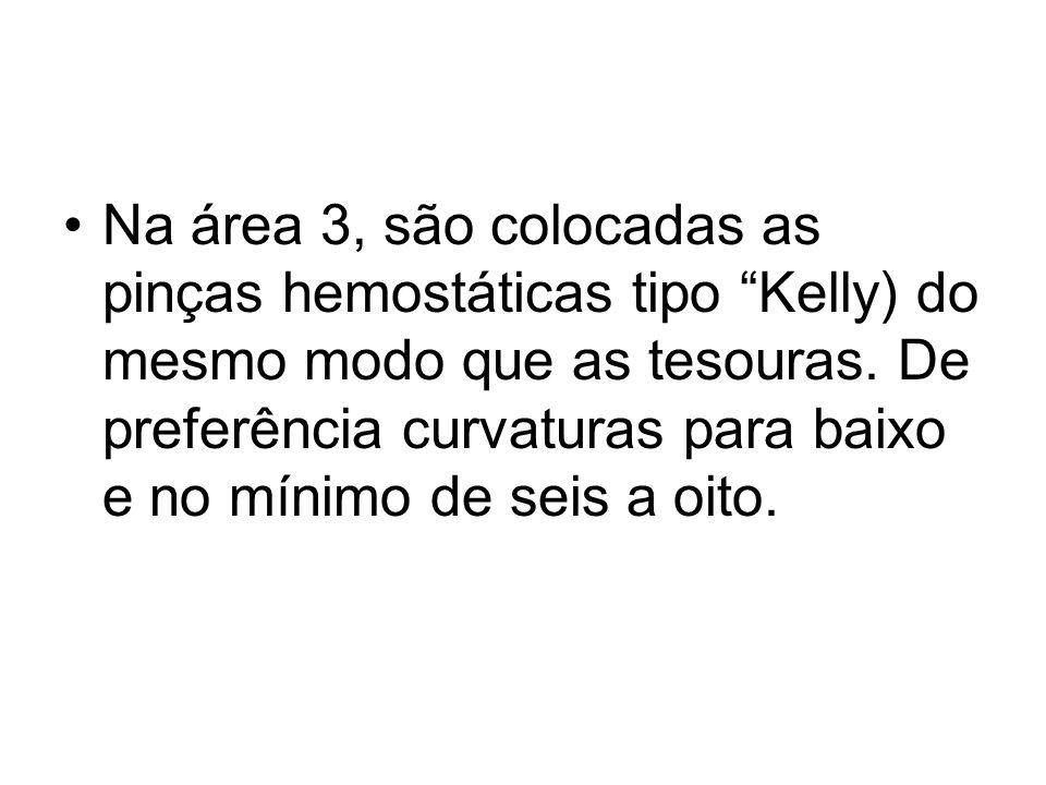 Na área 3, são colocadas as pinças hemostáticas tipo Kelly) do mesmo modo que as tesouras. De preferência curvaturas para baixo e no mínimo de seis a