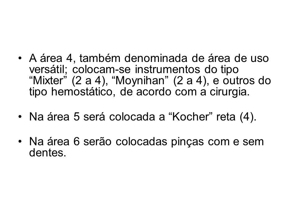 A área 4, também denominada de área de uso versátil; colocam-se instrumentos do tipo Mixter (2 a 4), Moynihan (2 a 4), e outros do tipo hemostático, d