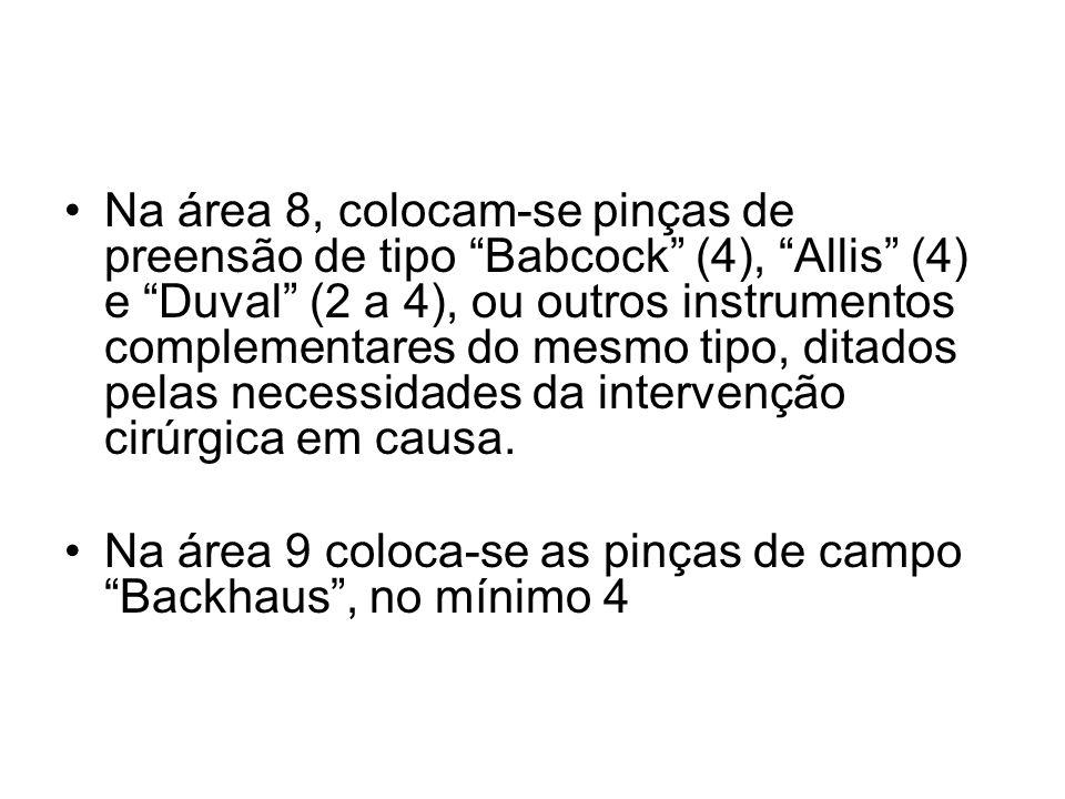 Na área 8, colocam-se pinças de preensão de tipo Babcock (4), Allis (4) e Duval (2 a 4), ou outros instrumentos complementares do mesmo tipo, ditados