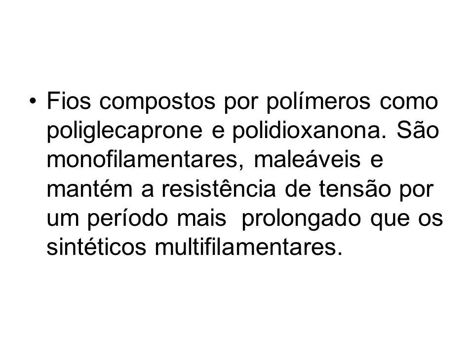Fios compostos por polímeros como poliglecaprone e polidioxanona. São monofilamentares, maleáveis e mantém a resistência de tensão por um período mais