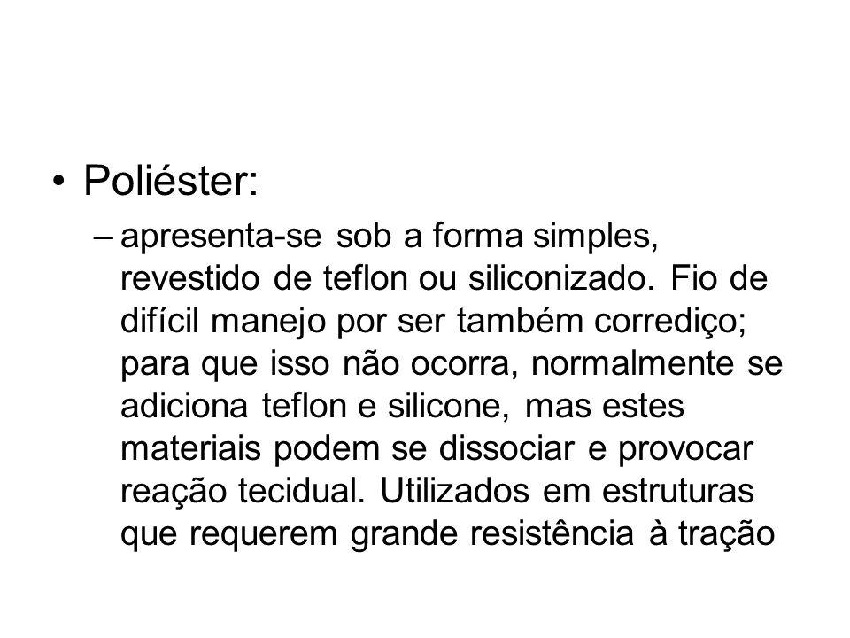 Poliéster: –apresenta-se sob a forma simples, revestido de teflon ou siliconizado. Fio de difícil manejo por ser também corrediço; para que isso não o