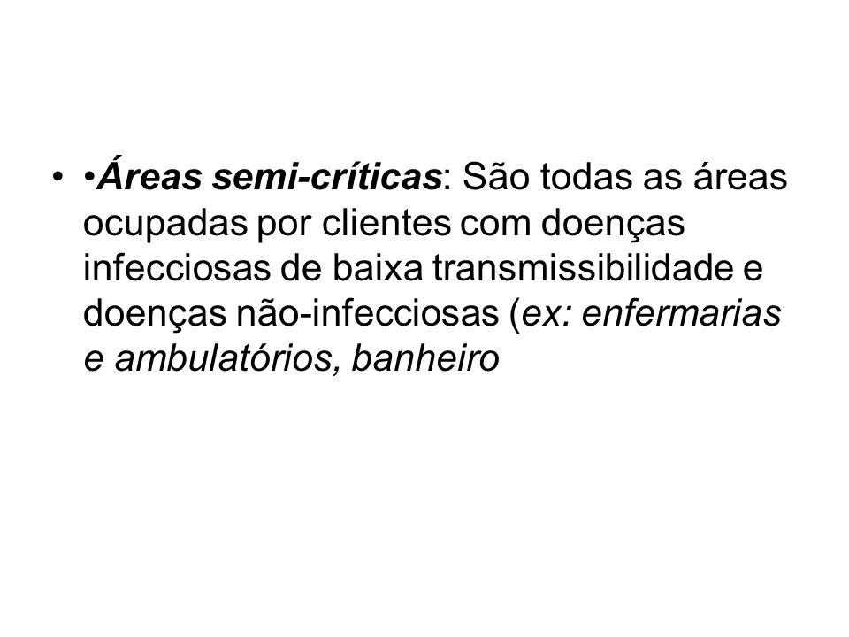 Áreas semi-críticas: São todas as áreas ocupadas por clientes com doenças infecciosas de baixa transmissibilidade e doenças não-infecciosas (ex: enfermarias e ambulatórios, banheiro