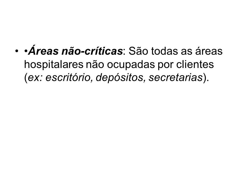 Áreas não-críticas: São todas as áreas hospitalares não ocupadas por clientes (ex: escritório, depósitos, secretarias).