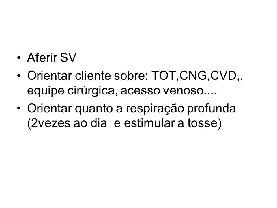 Aferir SV Orientar cliente sobre: TOT,CNG,CVD,, equipe cirúrgica, acesso venoso.... Orientar quanto a respiração profunda (2vezes ao dia e estimular a