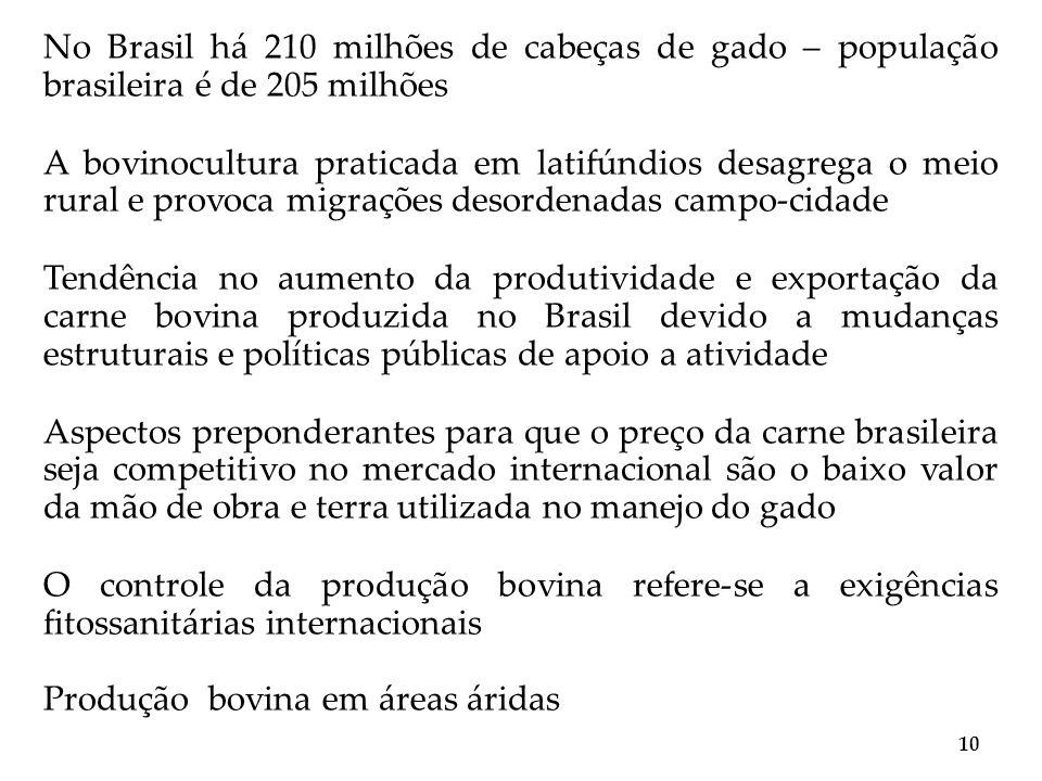 No Brasil há 210 milhões de cabeças de gado – população brasileira é de 205 milhões A bovinocultura praticada em latifúndios desagrega o meio rural e