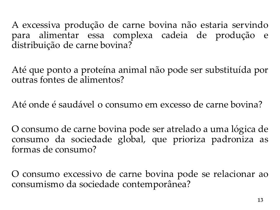 A excessiva produção de carne bovina não estaria servindo para alimentar essa complexa cadeia de produção e distribuição de carne bovina? Até que pont