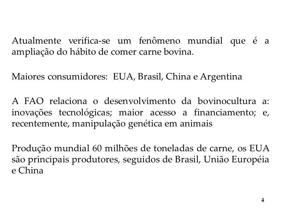 Atualmente verifica-se um fenômeno mundial que é a ampliação do hábito de comer carne bovina. Maiores consumidores: EUA, Brasil, China e Argentina A F