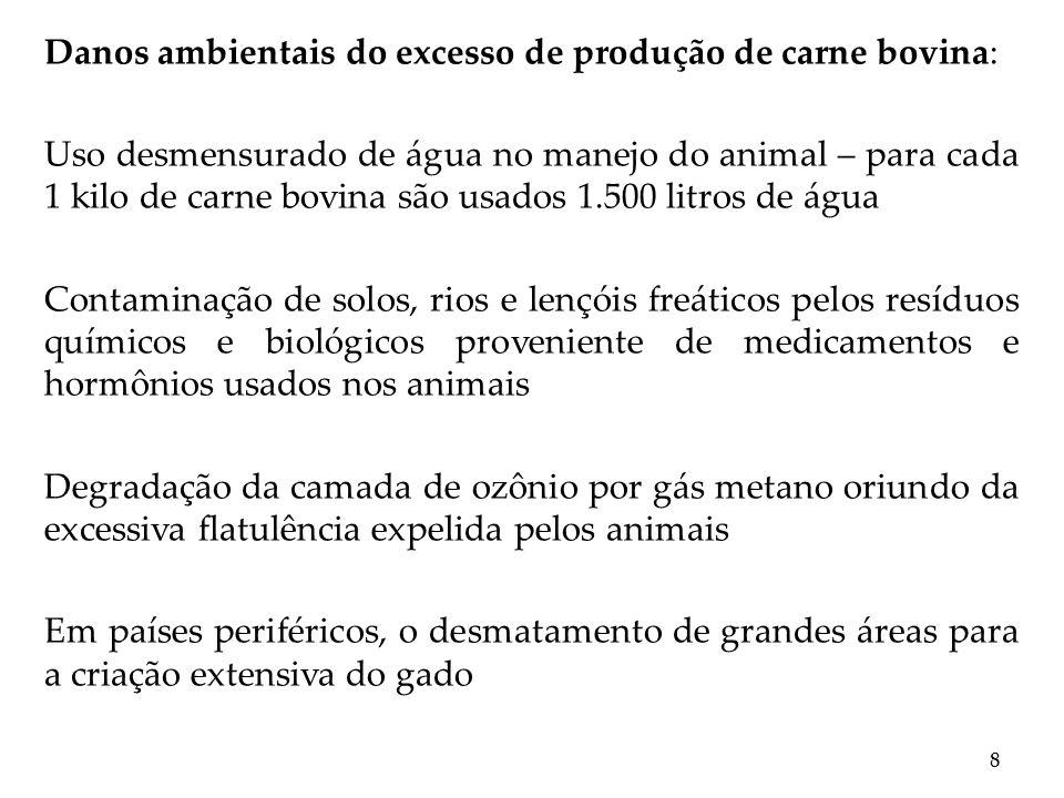 Danos ambientais do excesso de produção de carne bovina: Uso desmensurado de água no manejo do animal – para cada 1 kilo de carne bovina são usados 1.