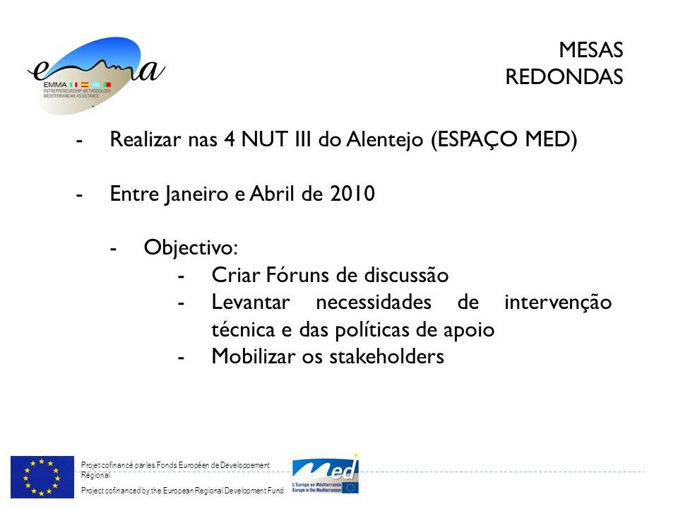 Projet cofinancé par les Fonds Européen de Developpement Régional Project cofinanced by the European Regional Development Fund MESAS REDONDAS -Realiza