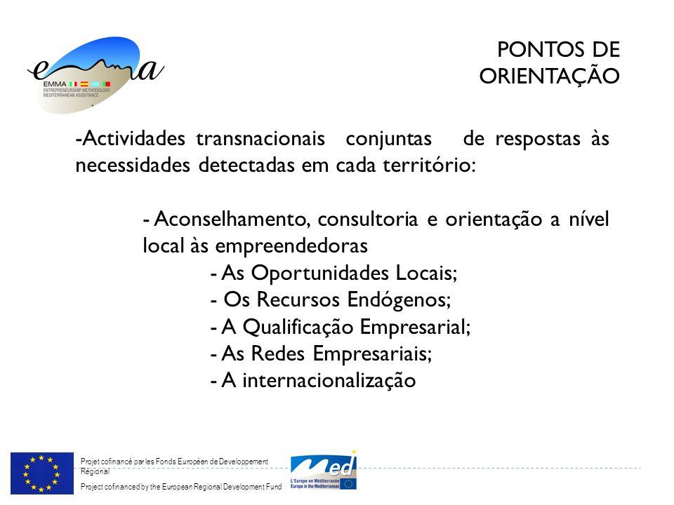 Projet cofinancé par les Fonds Européen de Developpement Régional Project cofinanced by the European Regional Development Fund PONTOS DE ORIENTAÇÃO -Actividades transnacionais conjuntas de respostas às necessidades detectadas em cada território: - Aconselhamento, consultoria e orientação a nível local às empreendedoras - As Oportunidades Locais; - Os Recursos Endógenos; - A Qualificação Empresarial; - As Redes Empresariais; - A internacionalização
