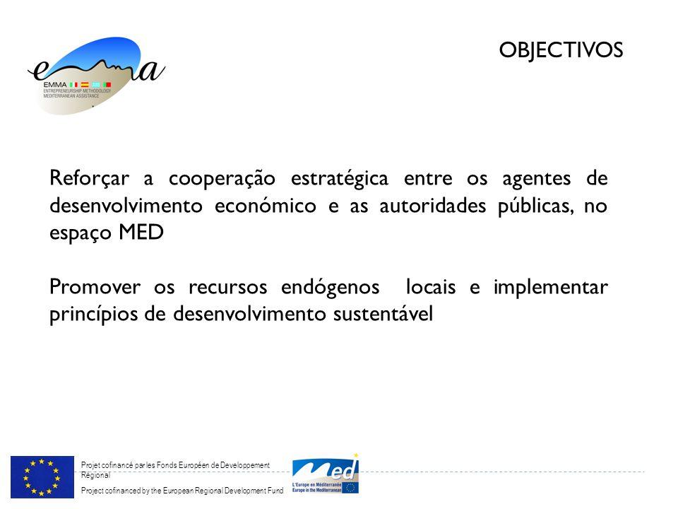 Projet cofinancé par les Fonds Européen de Developpement Régional Project cofinanced by the European Regional Development Fund OBJECTIVOS Reforçar a cooperação estratégica entre os agentes de desenvolvimento económico e as autoridades públicas, no espaço MED Promover os recursos endógenos locais e implementar princípios de desenvolvimento sustentável