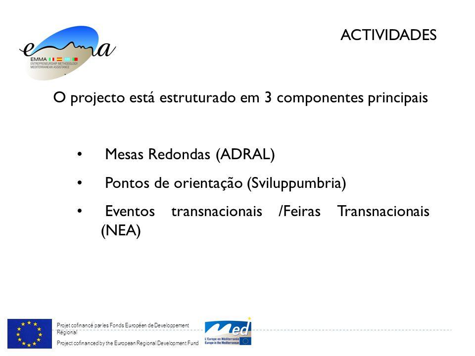 Projet cofinancé par les Fonds Européen de Developpement Régional Project cofinanced by the European Regional Development Fund ACTIVIDADES O projecto está estruturado em 3 componentes principais Mesas Redondas (ADRAL) Pontos de orientação (Sviluppumbria) Eventos transnacionais /Feiras Transnacionais (NEA)
