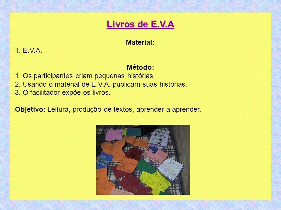 Livros de E.V.A Material: 1. E.V.A. Método: 1. Os participantes criam pequenas histórias. 2. Usando o material de E.V.A. publicam suas histórias. 3. O