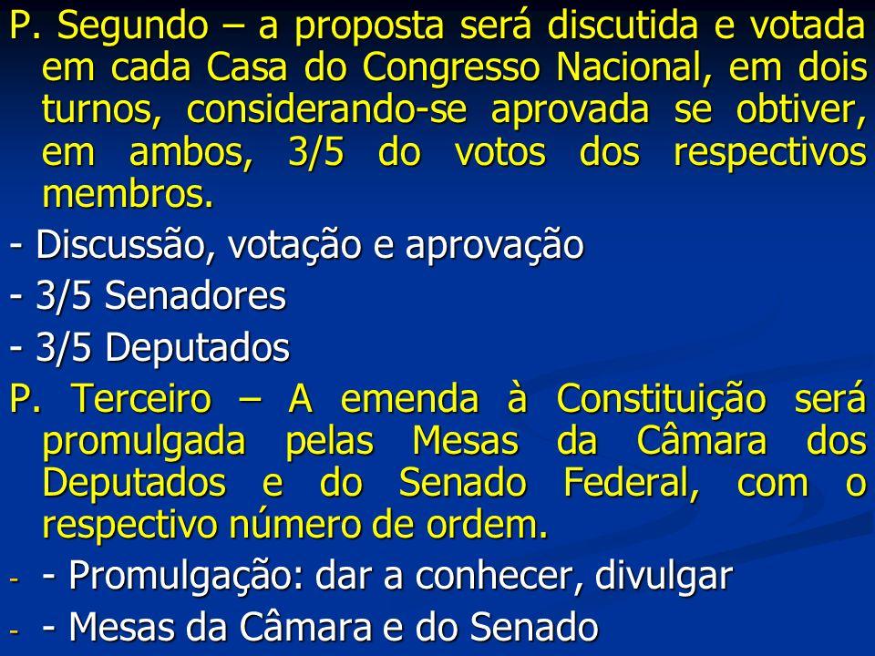 P. Segundo – a proposta será discutida e votada em cada Casa do Congresso Nacional, em dois turnos, considerando-se aprovada se obtiver, em ambos, 3/5