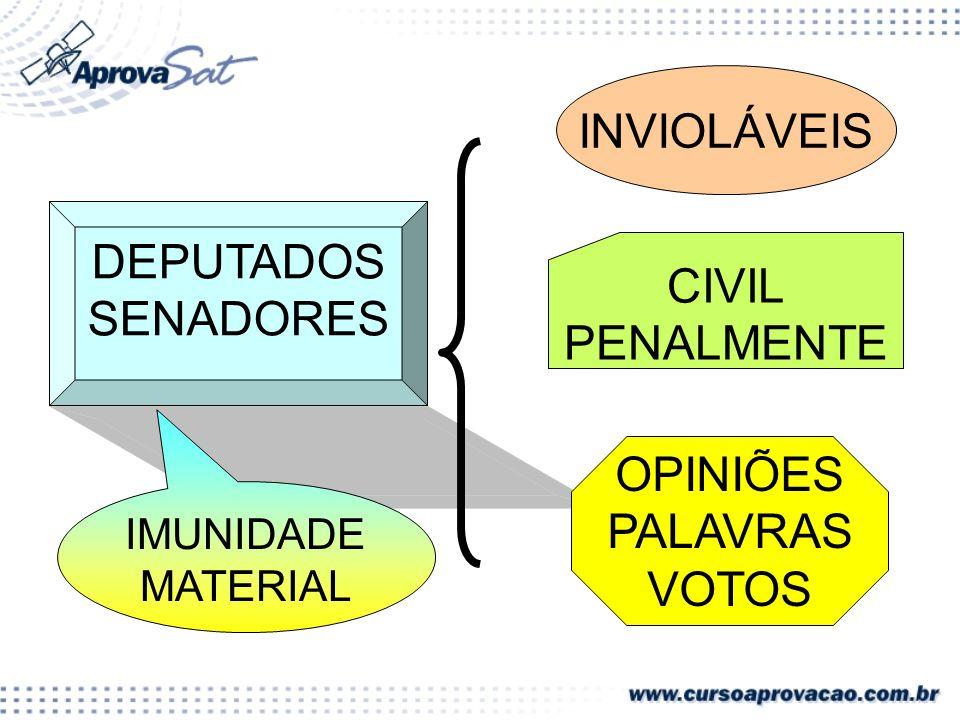 DEPUTADOS SENADORES INVIOLÁVEIS OPINIÕES PALAVRAS VOTOS CIVIL PENALMENTE IMUNIDADE MATERIAL